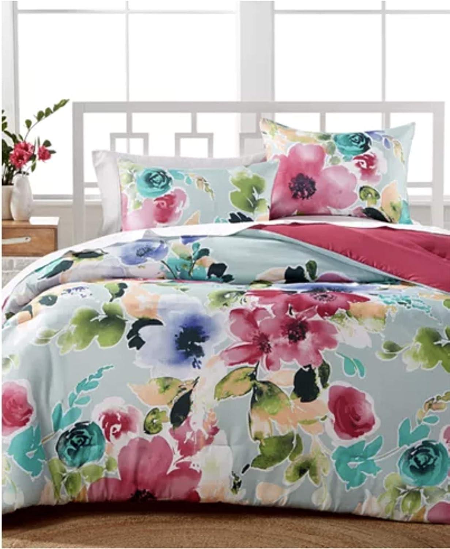 Amazon Com Hallmart Floral Comforter Set Queen Floral Print