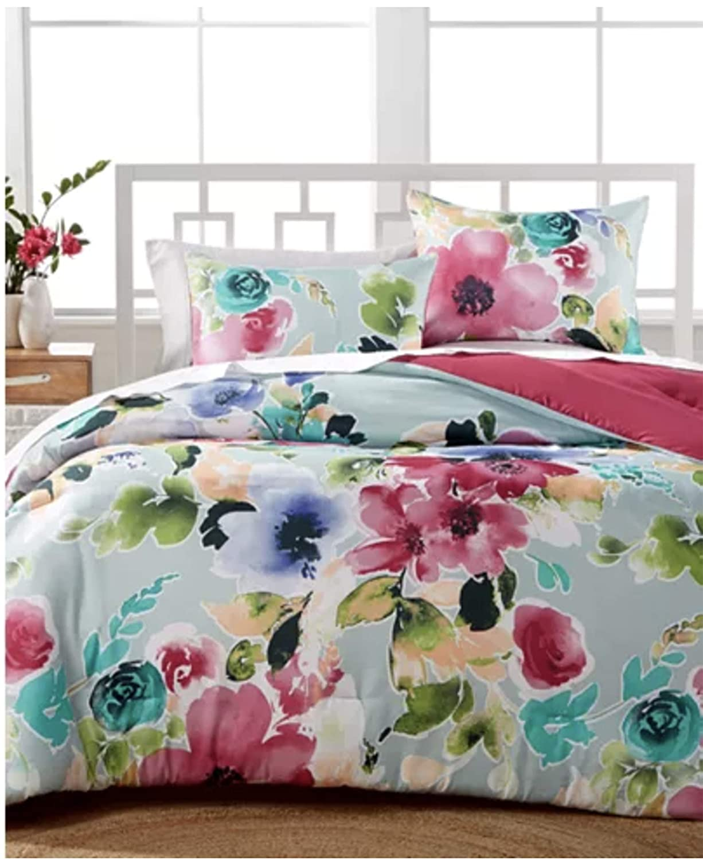 Hallmart Floral Comforter Set Queen Floral Print Watercolor Reversible Comforter Set for Spring - Pink and Blue 3 Piece Set