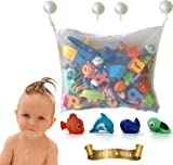 Kids Premium Baby Bath Toy Organiser -Toddlers Large Toy Storage bag for boys & girls and shower caddy. Bonuses: 4 heavy duty lock suction cups plus 4 bath toys