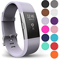 Yousave Accessories® Armband für Fitbit Charge 2, Ersatz Fitness Armband und Uhrenarmband, Silikon Sportarmband und Fitnessband, Wristband Armbänder für Fitbit Charge2 in 15 Farben