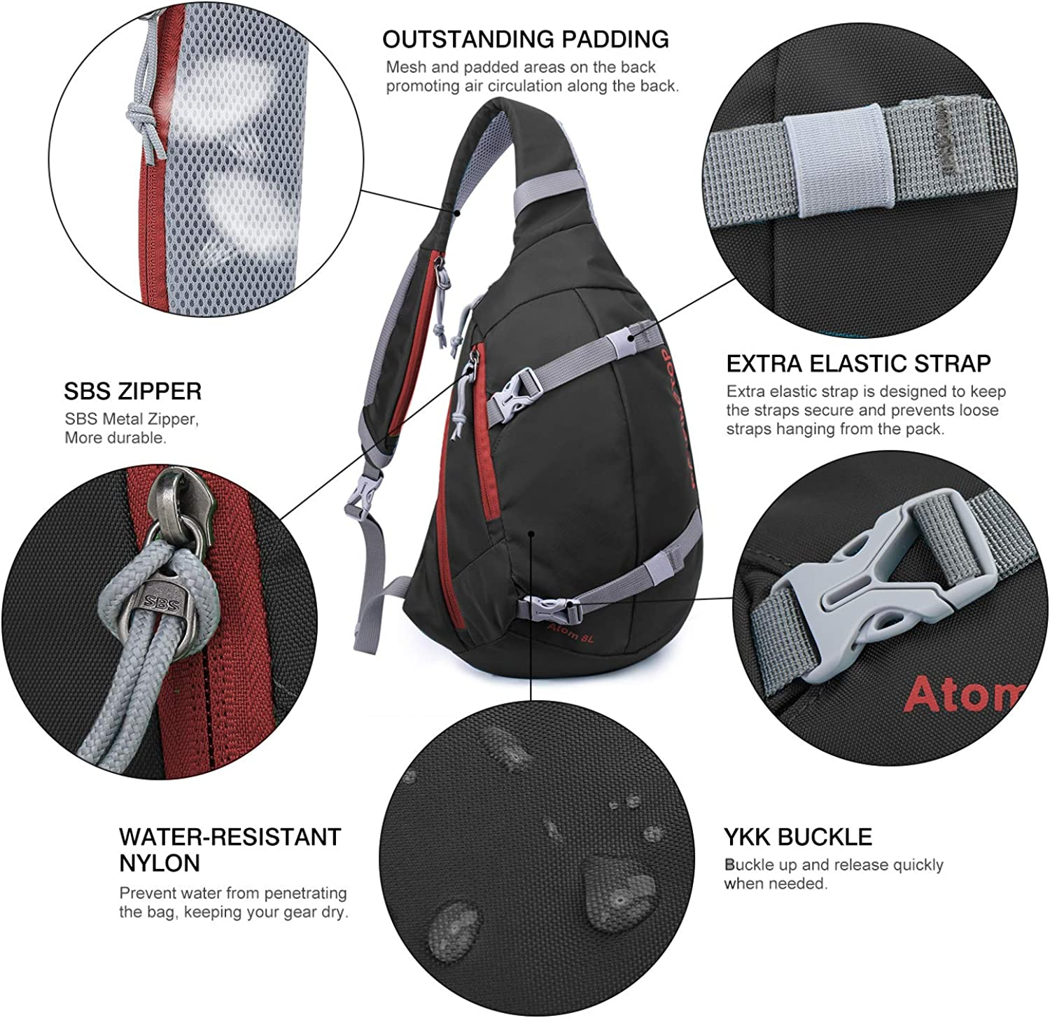 Mardingtop Shoulder Bags Crossbody Bag Tactical Sling Backpack Chest Bag Multipurpose Daypack for Hiking Cycling Camping