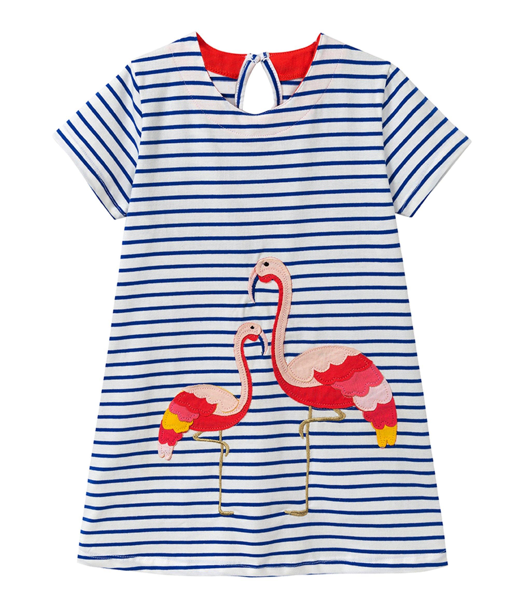 Eocom Little Girls Soft Summer Cotton Short Sleeve Dresses T-Shirt Casual Cartoon Dress for Kids (Flamingo, 5T)
