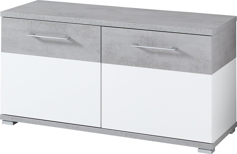 Germania Shoe Bench 3772 GW-Topix, in White/Concrete look wrapping, 96 x 51 x 40 cm (WxHxD) Germania XTW3U 3772-531