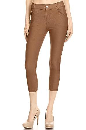 e0ca4f19ddd32 Khaki Jeggings Cropped Jeggings Khaki Capri Jeans for Women Jean Leggings  Khaki Small