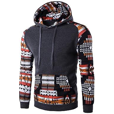 Elonglin Herren Stylisch Langarmshirt Sweatshirt mit Kapuze Kontrastreiche  Farben: Amazon.de: Bekleidung
