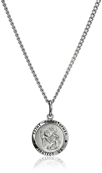 Sterling Silver St Christopher Heart Pendant with 18