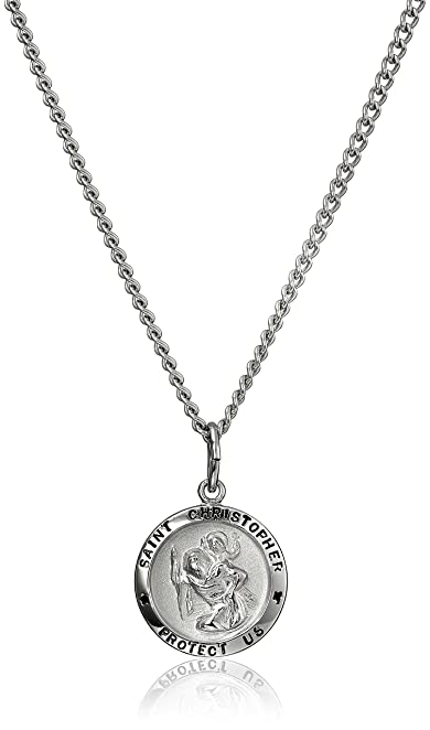 Amazon stainless steel chain with sterling silver saint stainless steel chain with sterling silver saint christopher pendant 18quot mozeypictures Choice Image