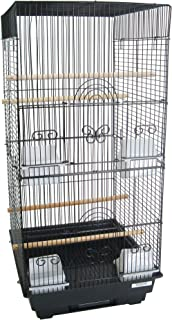 YML A6624 Bar Spacing Tall Square 4 Perches Bird Cage, 14 by 16-Inch, Black