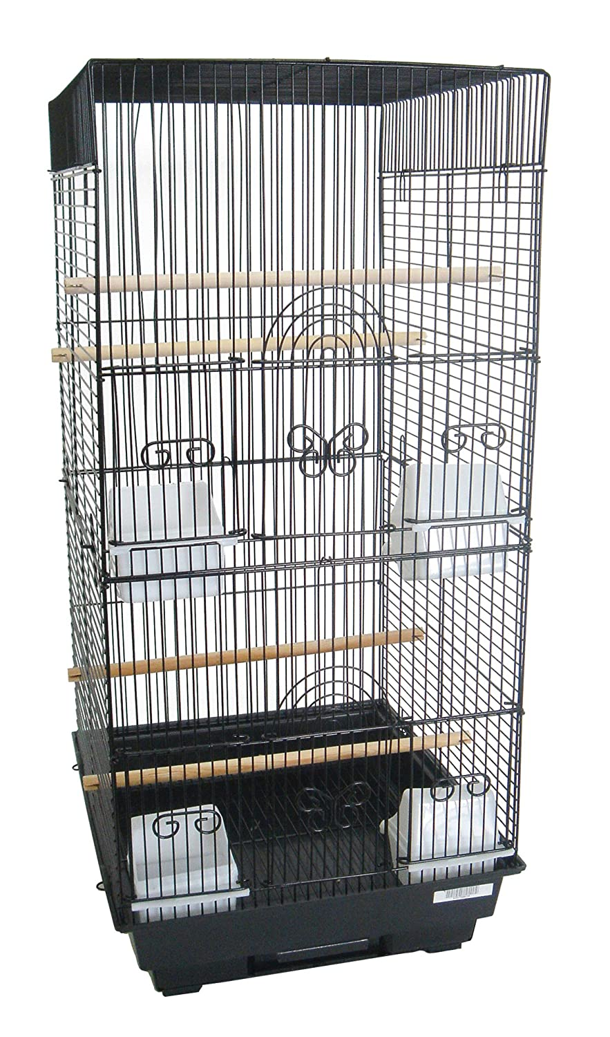 YML A6624 Bar Spacing Tall Square 4 Perches Bird Cage, 14 by 16-Inch, Black A6624BLK