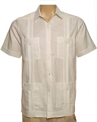 bc5069f4 Short Sleeve Guayabera 100% Linen for Men Made in USA at Amazon ...