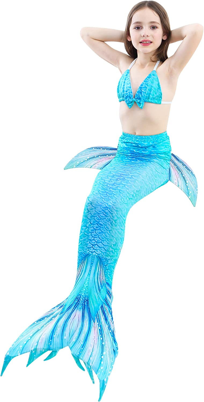 3-12Y GALLDEALS 3pcs Mermaid for Swimming Bathing Suit Princess Bikini Set Mermaid Costume Cosplay for Kids Girls Swimsuit