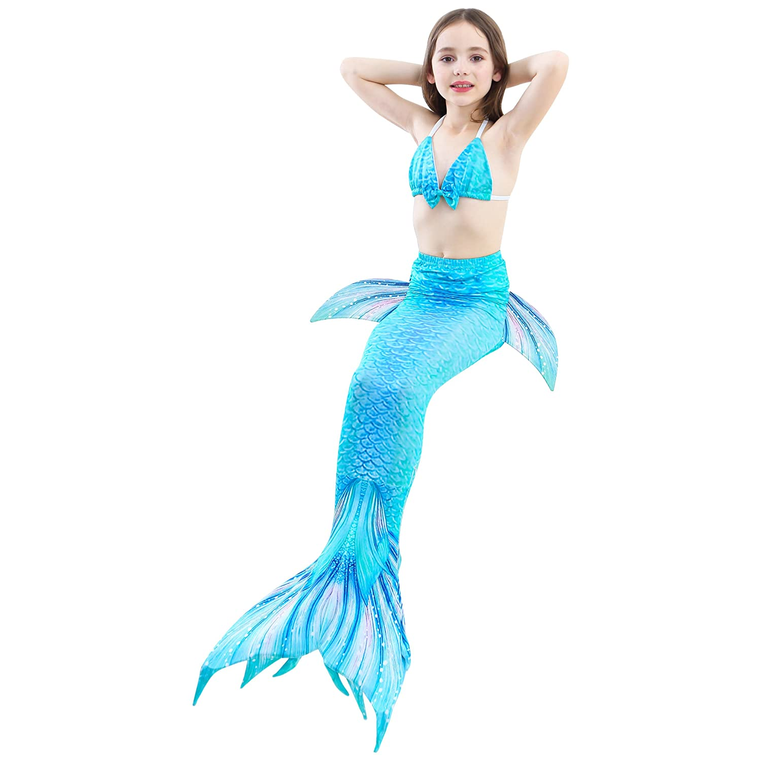 821d8709aea7e AMENON 4PCs Girls Mermaid Tails Swimsuits for Swimming Toddler Big Girl  Bikini Set
