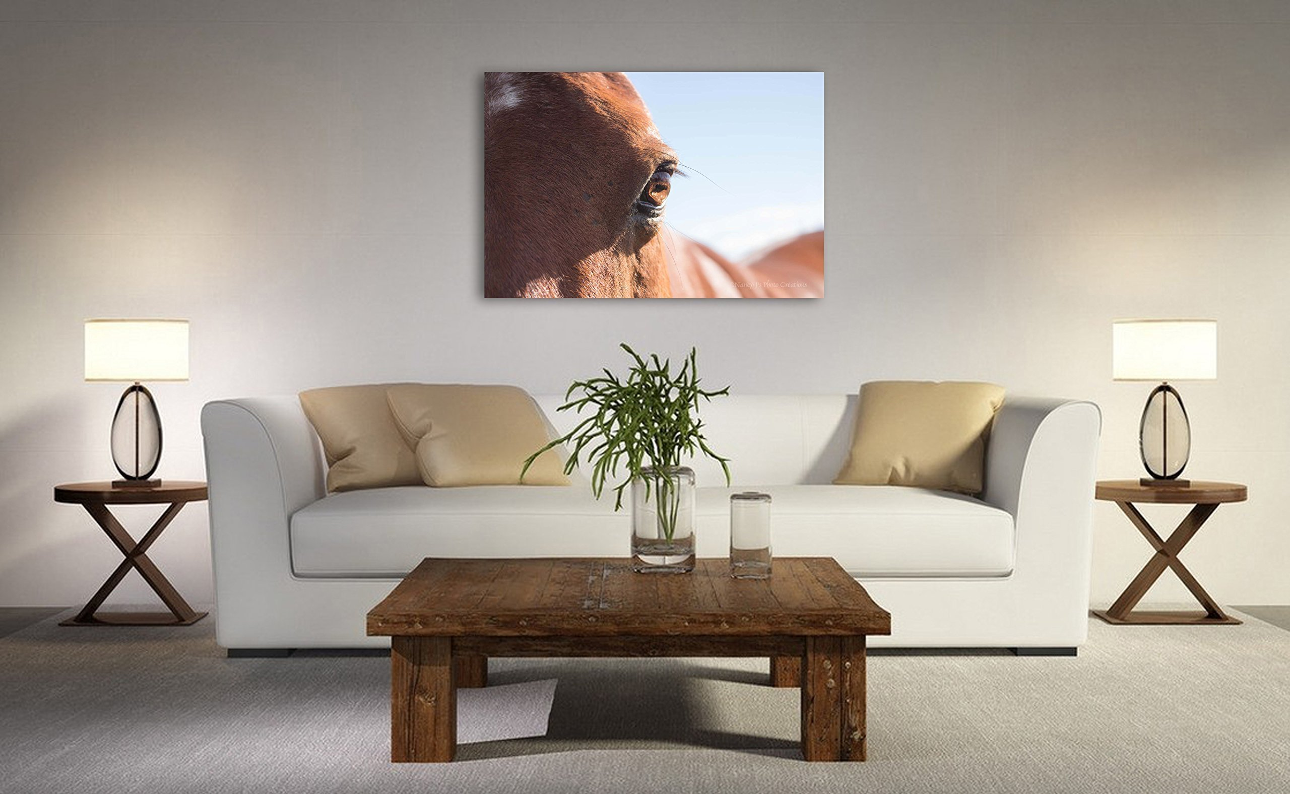 Equine Photo on CANVAS Horse Photography Fine Art Print Girl's Room Wall Decor Brown Animal Picture Minimalist Photograph Ready to Hang 8x10 8x12 11x14 12x18 16x20 16x24 20x30 24x36 by Nancy J's Photo Creations