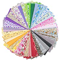 """Foraineam 50 Pieces Assorted Cotton Craft Fabric Bundle 8"""" x 8"""" (20cm x 20cm) Printed Patchwork Squares for DIY Sewing…"""