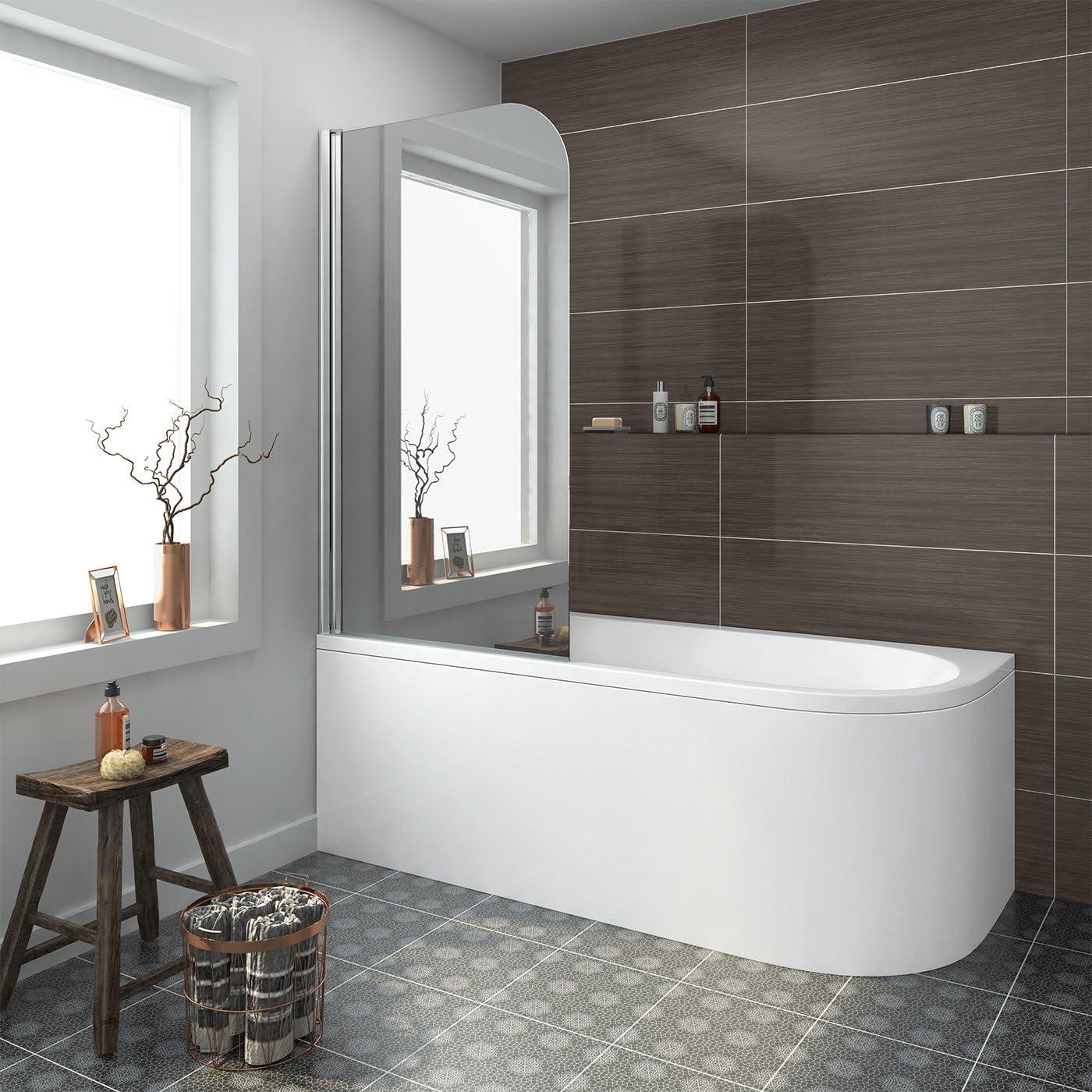 Espejo mano izquierda de ducha baño cristal acrílico blanco 6 mm cristal de seguridad puerta: iBathUK: Amazon.es: Hogar