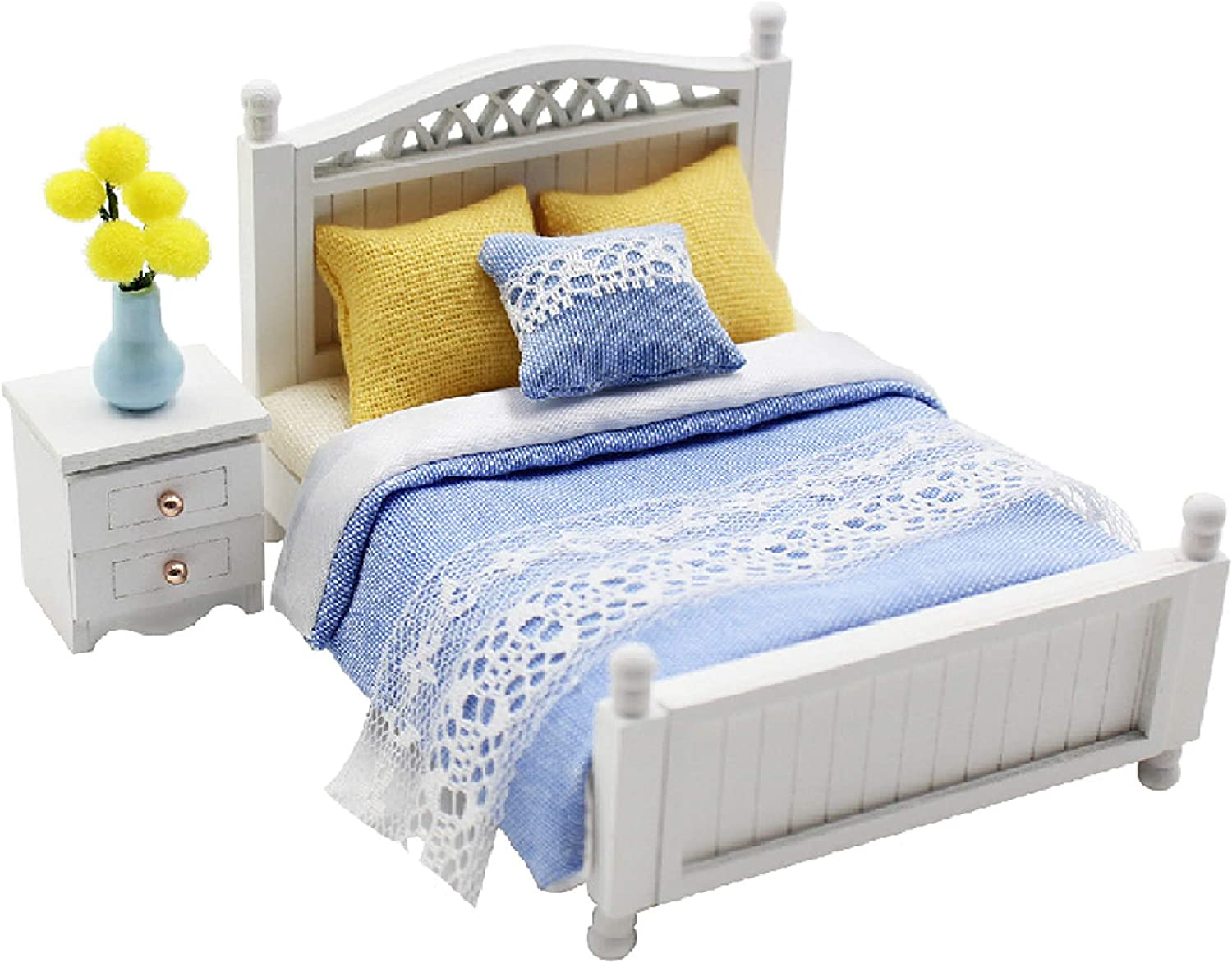 Cool Beans Boutique 1:18 Miniature Dollhouse Furniture DIY Kit – Blue Double Bed & Night Stand (Assembly Required) (Double Bed & Nightstand, Blue)