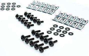 M5x20mm Set Verkleidungsschrauben Gummi U-Scheiben Klemmen Clip Motorrad Auto breite Schrauben schwarz 5mm