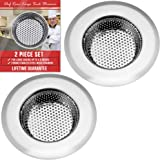 """Latest 2-PC Kitchen Sink Strainer - Large 4.5"""" Wide Rim Diameter - Prevent Clogged Drains With The Best Stainless Steel Screen Mesh Basket Catcher/Stopper For Your Kitchen, Shower & Utility Rooms"""
