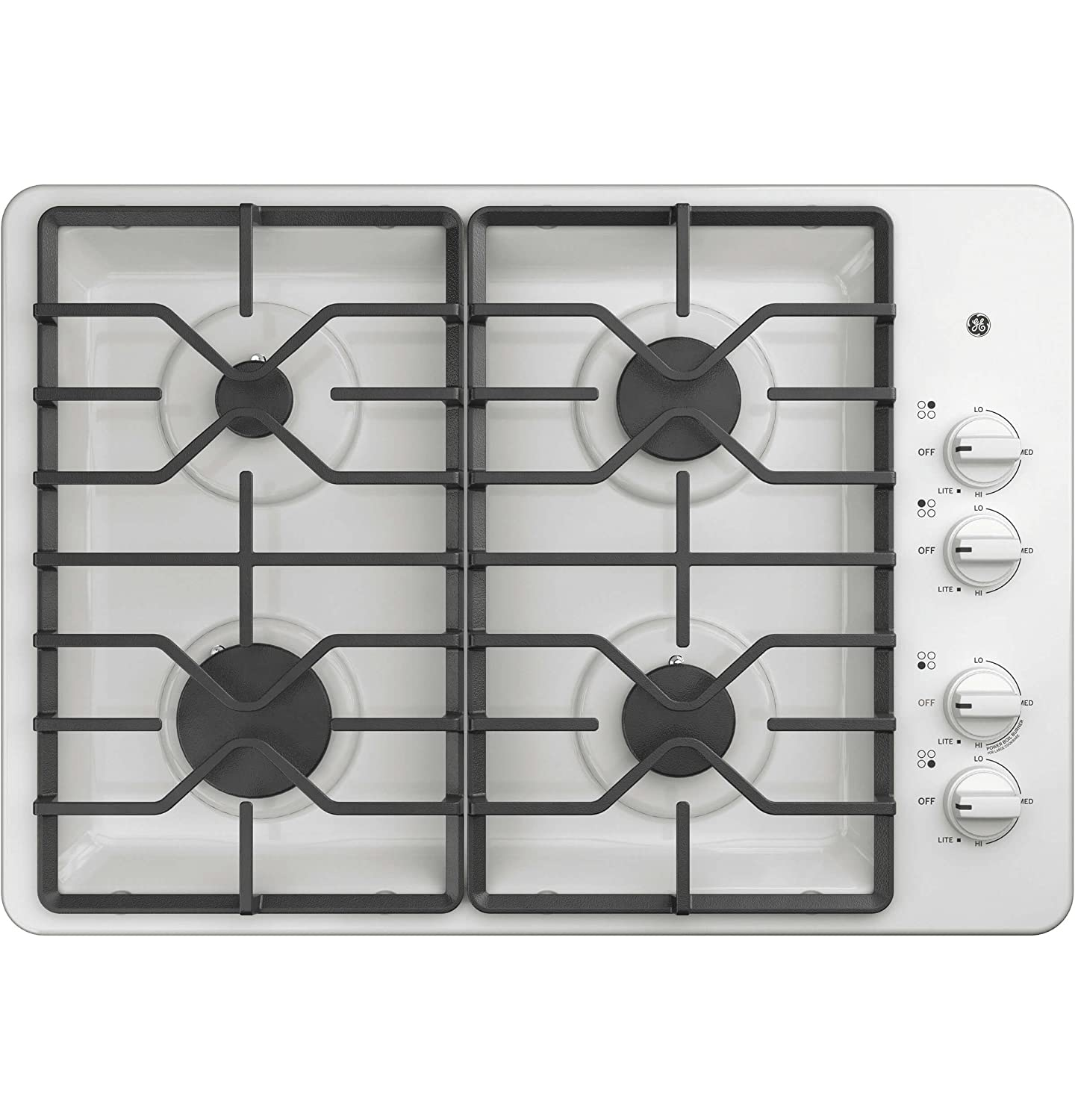 GE JGP3030DLWW 30 Inch Natural Gas Sealed Burner Style Cooktop with 4 Burners, ADA Compliant, in White G.E.