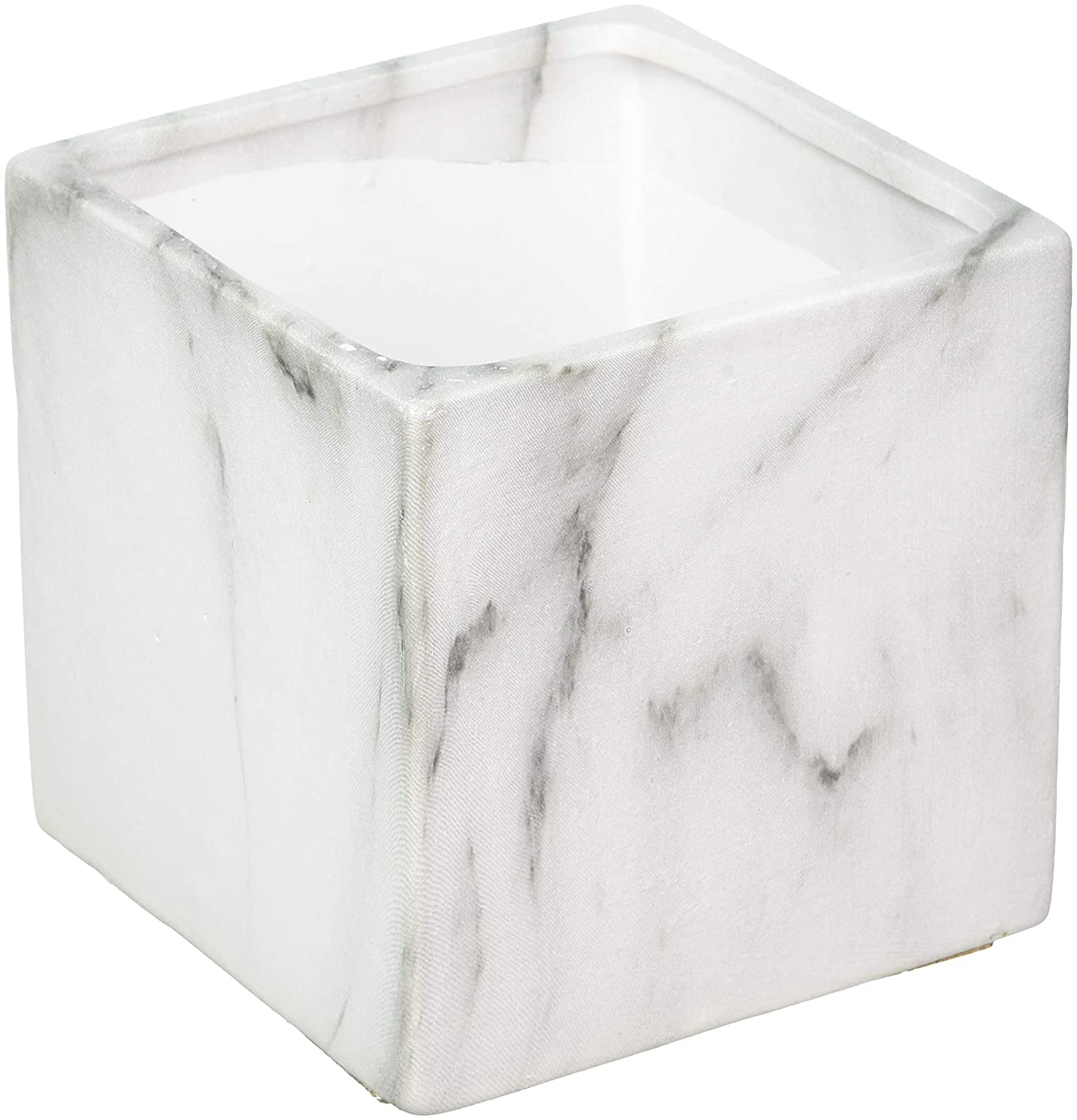 Koyal Wholesale Marble Decor, Black White Marble Effect Square Cube Vase Centerpiece for Marble Wedding, 4-Pack, Mable Home Decor, Marble Desk Accessories (4-Inch)