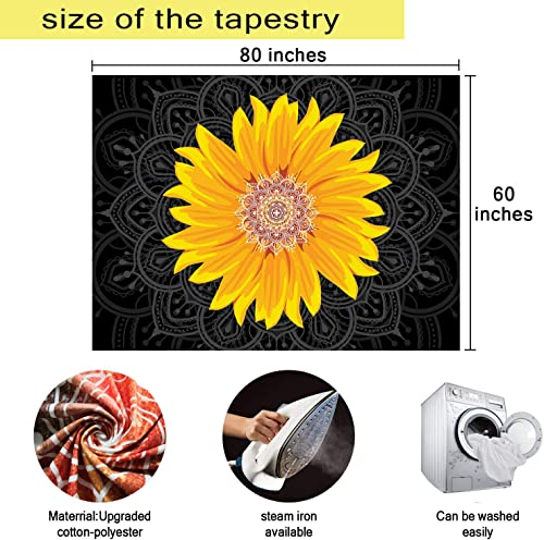 MEETSIOY Sunflower Tapestry 80×60 Inches Abstract Bohemian Tapestry Decor Wall Tapestry for Living Room Dorm Background Tapestries GTYYMT125