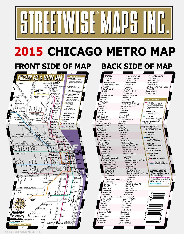 Subway Map Metra.Streetwise Chicago Cta Metra Map Laminated Chicago Metro Map