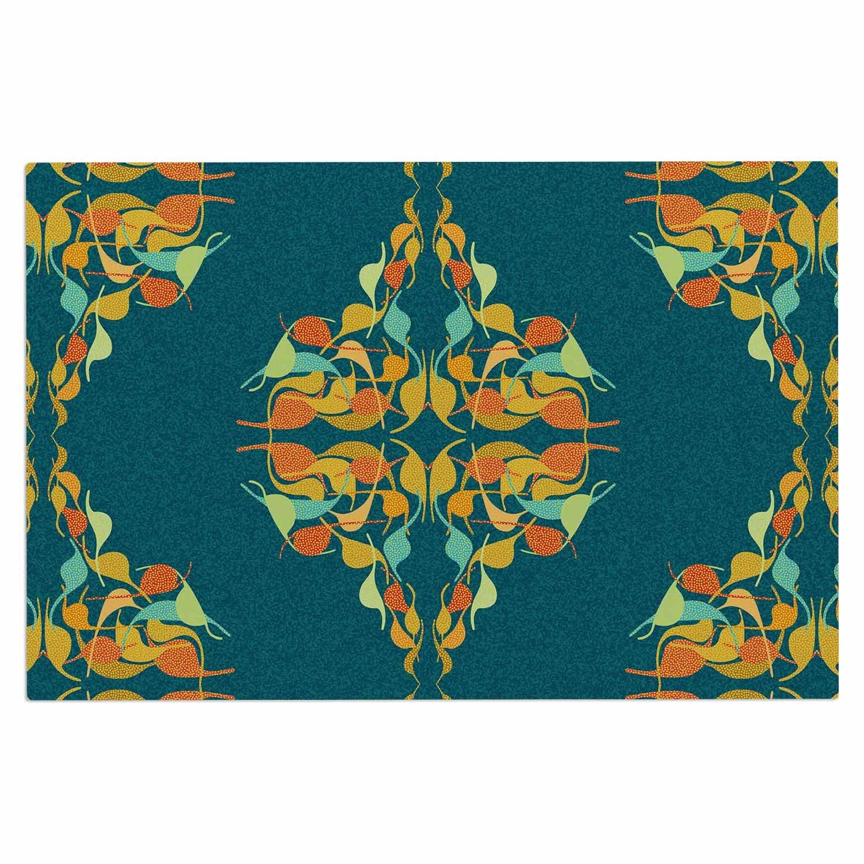 Kess InHouse Dan Sekanwagi Turquoise Feast Teal Orange Decorative Door, 2' x 3' Floor Mat