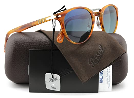 4e9c8c5b4a Persol PO3108-S Typewriter Edition Polarized Sunglasses Striped Brown w Blue  Gradient (960 S3) PO 3108 960S3 49mm Authentic  Amazon.co.uk  Clothing