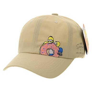 5d6df0c7acb3f WITHMOONS The Simpsons Ball Cap Homer Simpson Eats Dounut HL1761 (Beige)