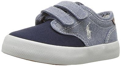 b44c89141 Polo Ralph Lauren Kids Boys' Lewis EZ Sneaker, Blue Chambray - Navy Canvas,