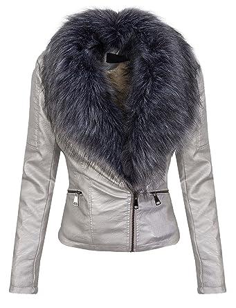 Kunstleder Damen Jacke Kunstfellkragen Winterjacke Leder-Optik Damenjacke D-352  S-XL  Amazon.de  Bekleidung 8084f0ff48