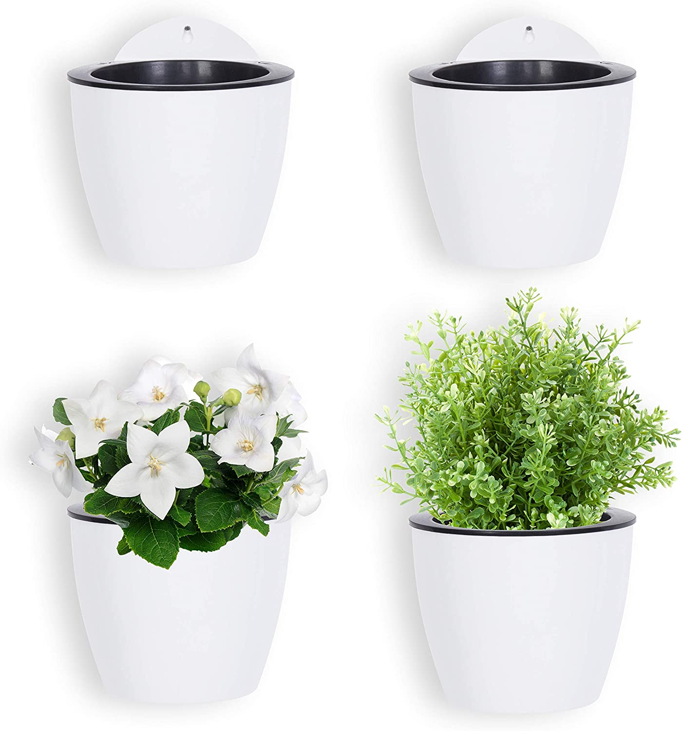 Self Watering Hanging Planters 7 Pack for Plants Flowers Indoor Outdoor Window Wall Large 7 Inch Plant Pots with Hooks White Plastic by ShoppeWatch PL35