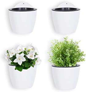 MyGift 7-inch Modern Wall Mountable Self Watering White Planter Pots, Set of 4