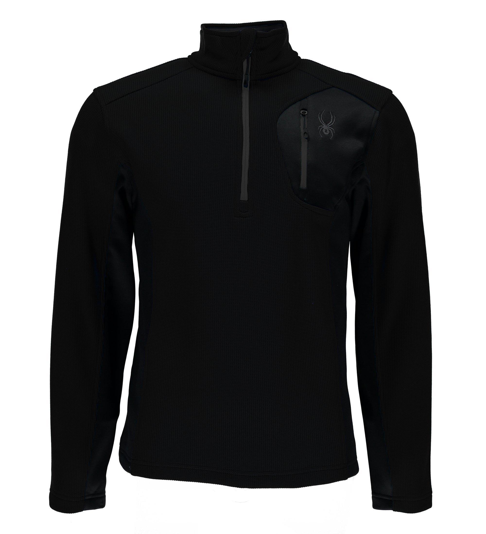 Spyder Men's Bandit Half Zip Light Weight Stryke Jacket, Black/Black/Black, Large
