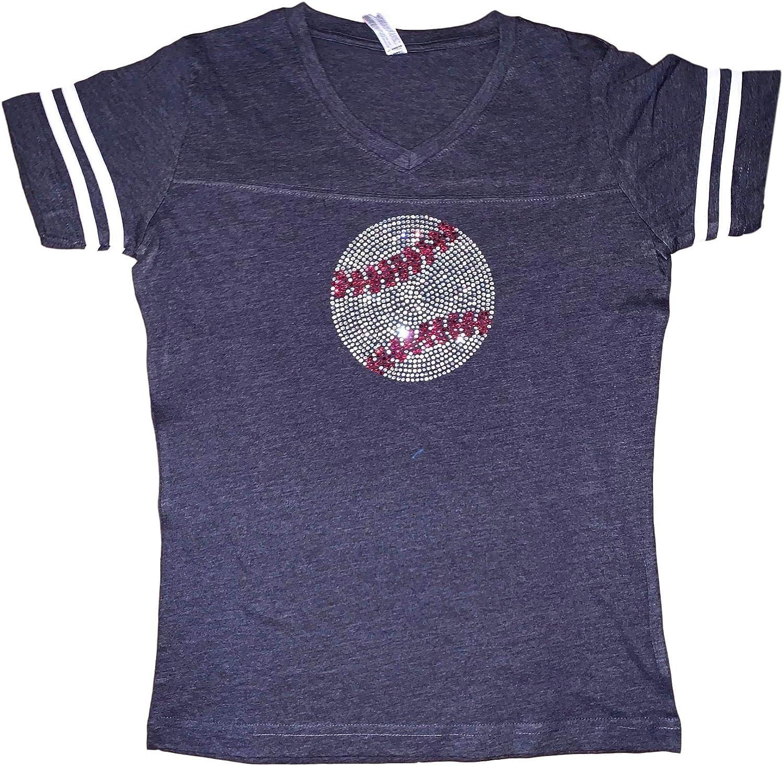 FanGarb Womens/Girls Rhinestone Bedazzled Baseball v-Neck tee Shirt