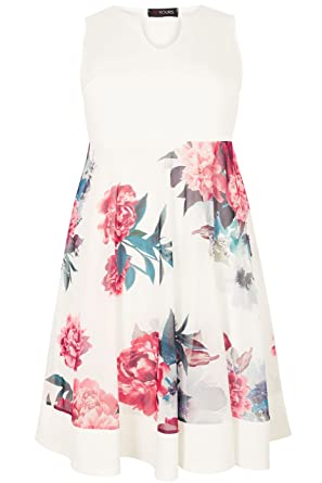 a3d3f7dc2e2 Yours Women s Plus Size White   Scuba Skater Dress with Mesh Floral Skirt  Size ...