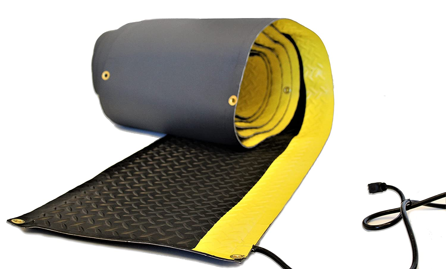 """RHS Heated Walkway, non-slip snow melting mat, diamond shape design for extra traction, safety bright yellow edge, color black, Helps Prevent Shoveling your walkway, Buy Factory Direct (15""""W x 10'L)"""