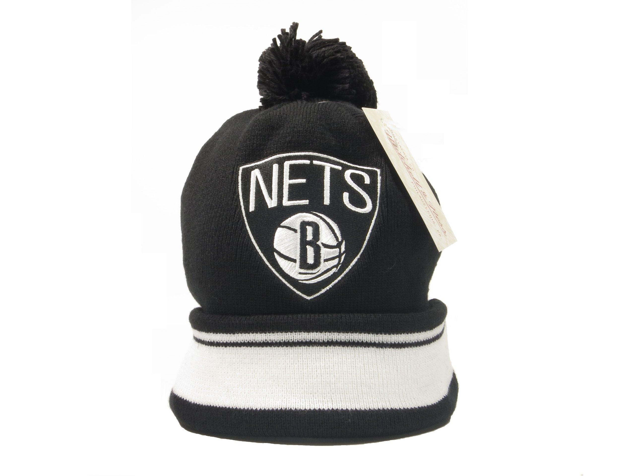 New Mitchell & Ness NBA Brooklyn Nets Cuffed Pom Knit Beanie