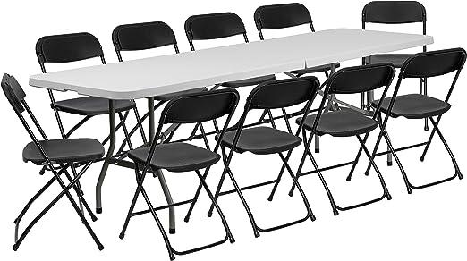Amazon Com Flash Furniture 8 Bi Fold Granite White Plastic Event Training Folding Table Set With 10 Folding Chairs Kitchen Dining