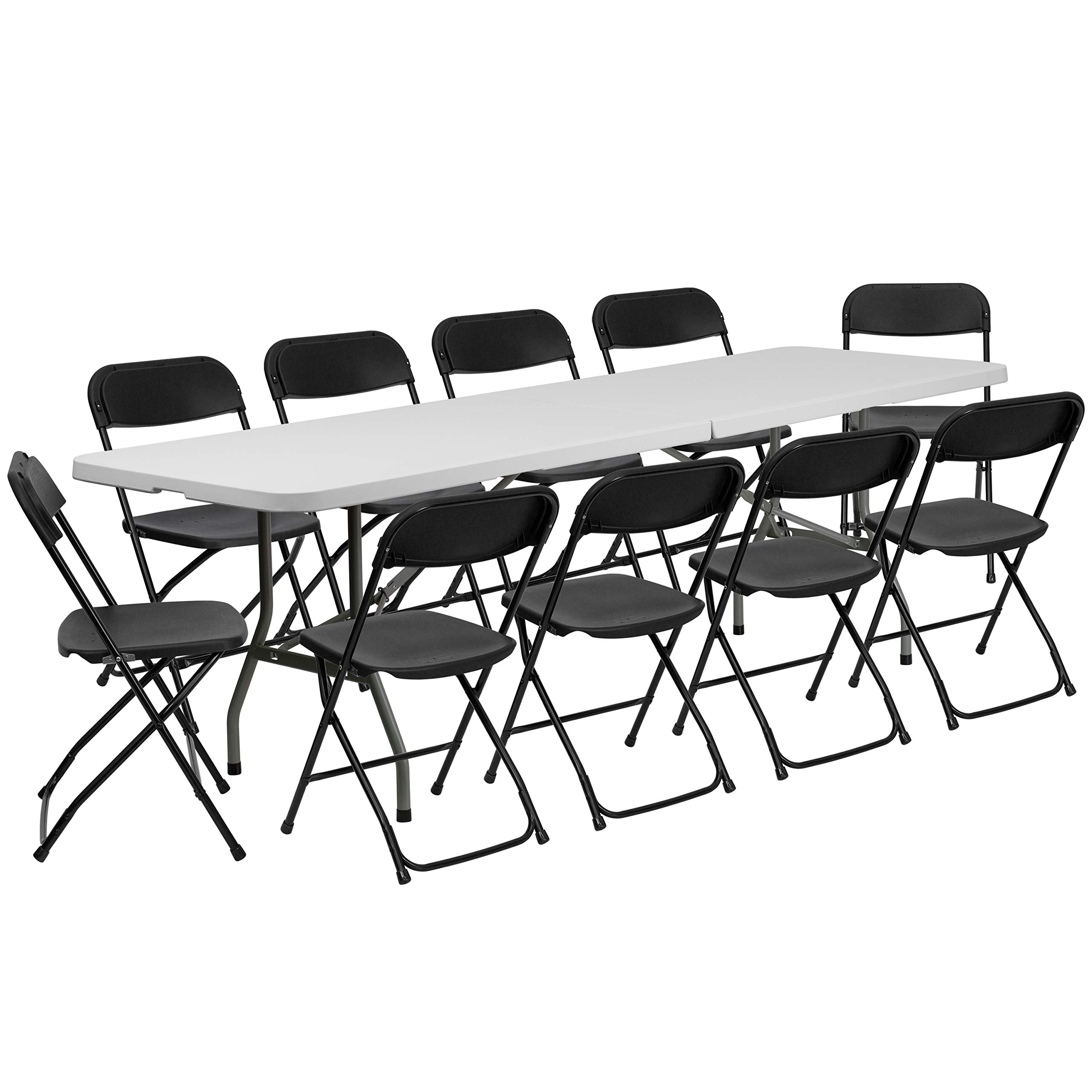 Flash Furniture 8' Bi-Fold Granite White Plastic Event/Training Folding Table Set with 10 Folding Chairs by Flash Furniture