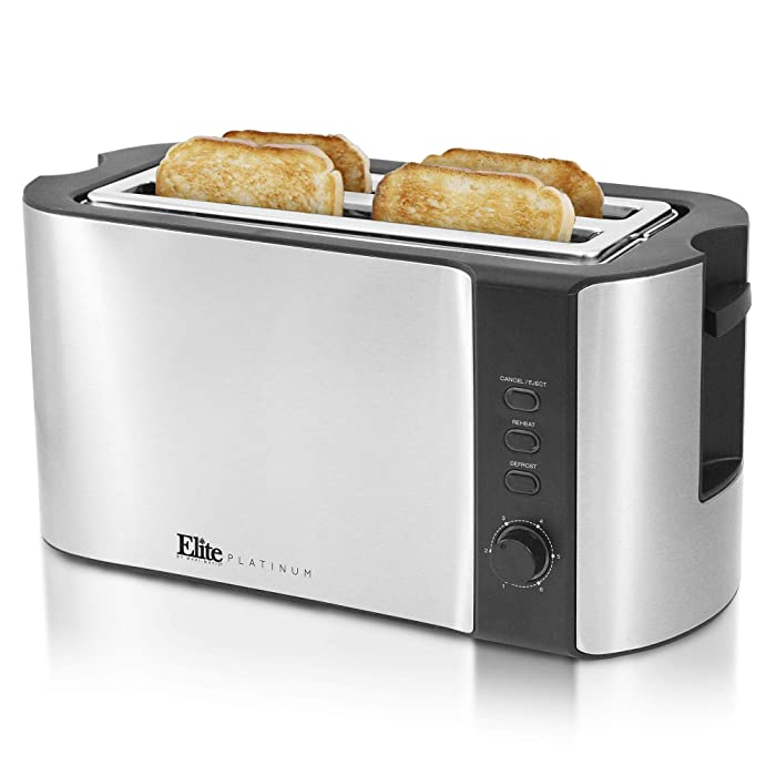 Maxi-Matic ECT-3100 Stainless Steel Long Slot Toaster, Bagels, Specialty Breads Reheat, Cancel & Defrost Settings, 4 Slice, 1300 Watts, Silver & Black