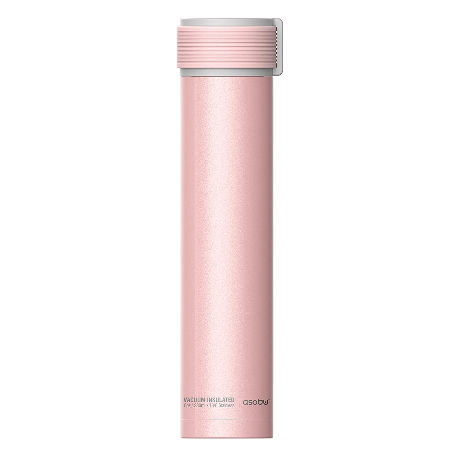 The Asobu Skinny Mini 8oz Fashion Forward Double Walled Stainless Steel Insulated Water Bottle (White) sbv20