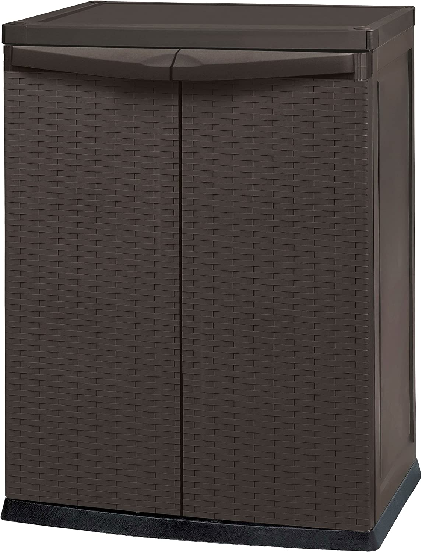 KETER Rattan Style Cupboard 17190255 Mini Shed Rattan Plastic Brown