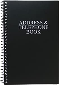 Iconikal Spiral-Bound Address and Telephone Book with Plastic Cover, Black
