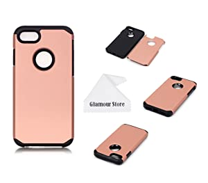 iPhone 7 Case, 2 in 1 Soft Shockproof Armor Dual Layer With PC Hard Back Cover Plastic Case Cover For Apple iPhone 7 4.7 inch With A Free Cleaning Cloth As a Gift (Golden)