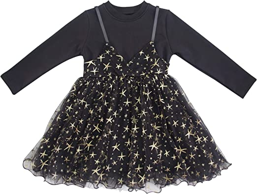 Vestido Niña Negro Manga Larga Algodón Fiesta Boda Tul Princesa con Terciopelo Estrellas Lentejuelas 3 Capas: Amazon.es: Ropa y accesorios