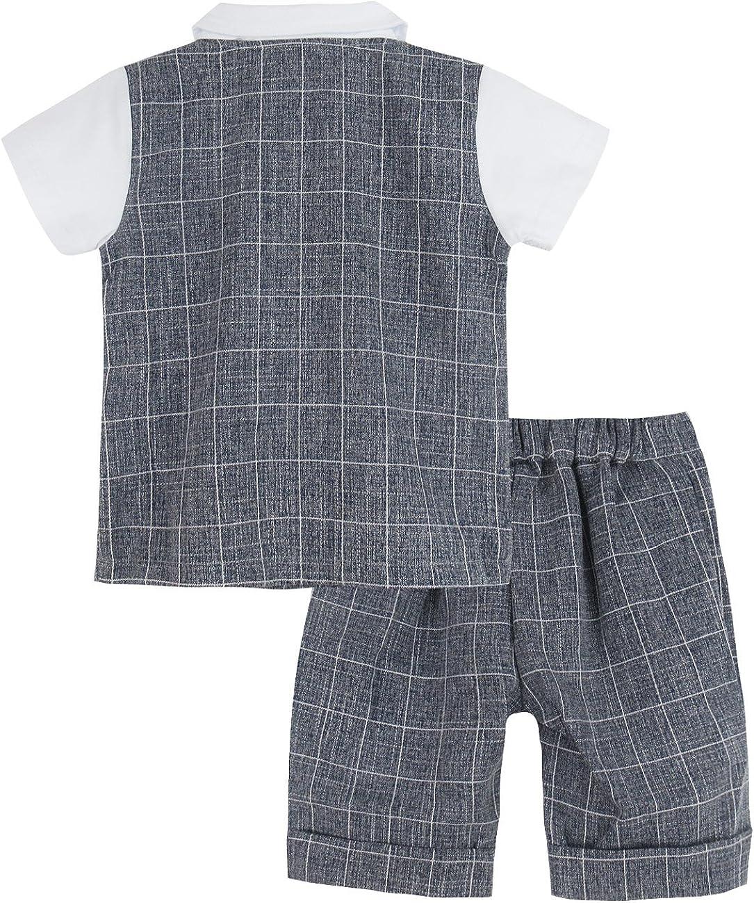 A/&J Design Beb/é Ni/ño Gentilhombre Camisa a Cuadros y Pantalones Conjunto