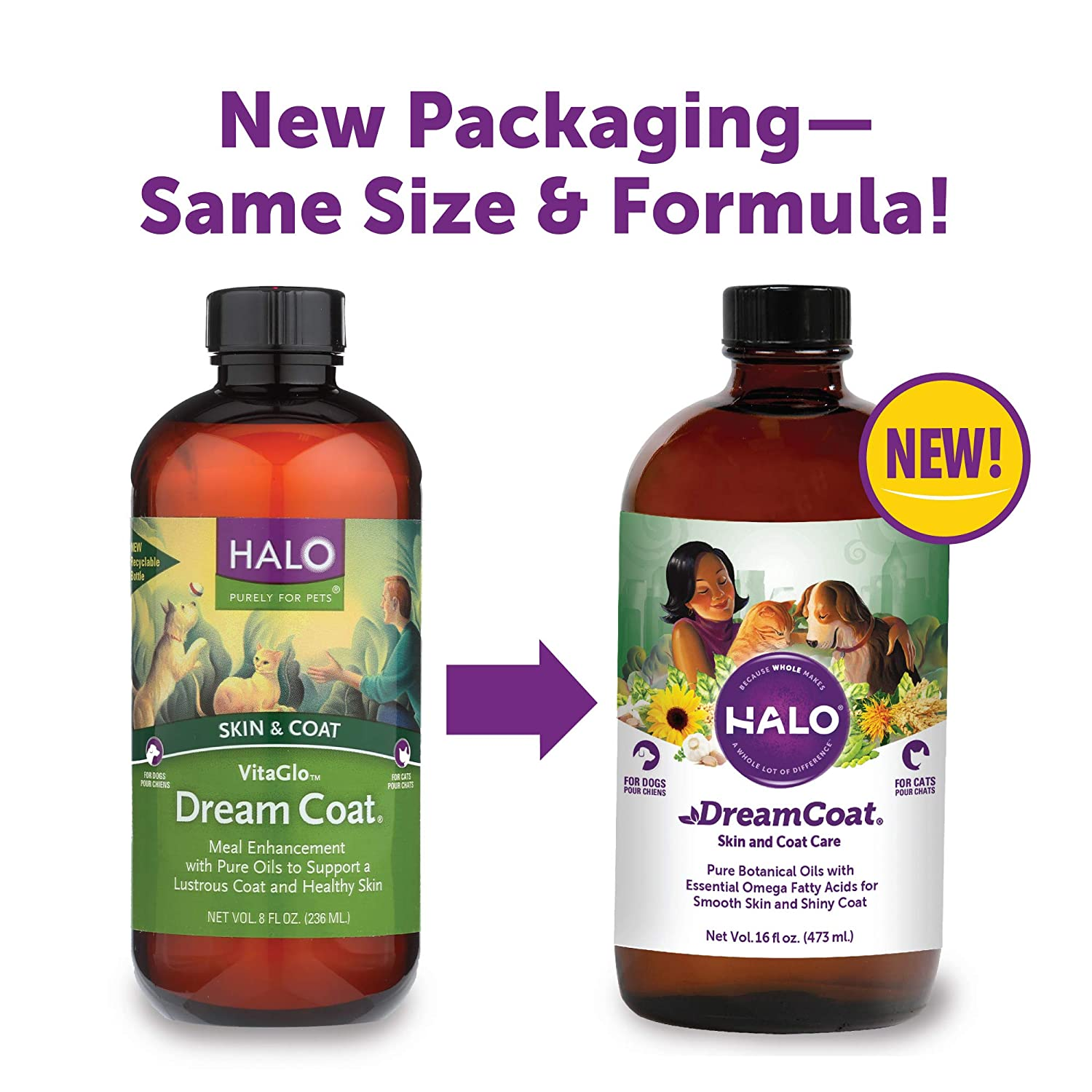 16oz Jar Halo Vita Glo Dream Coat Natural Supplement for Dogs and Cats, 16oz
