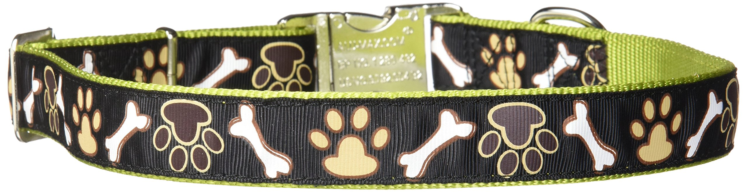 Pet Attire Ribbon Adjustable Nylon Collar with Aluminum Buckle, 1'' x 26''