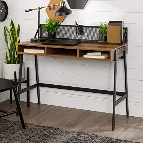 Walker Edison Industrial Mesh Wood Laptop Computer Writing Desk Home Office Workstation Small